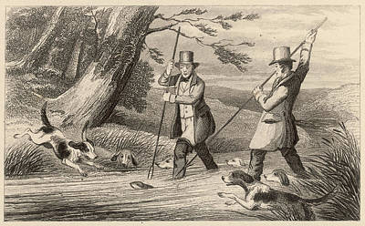 Otter Drawing - Victorian Sportsmen Hunting Otters by Mary Evans Picture Library
