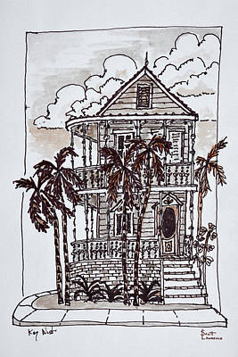 Victorian Style 'conch House' With Palm Art Print