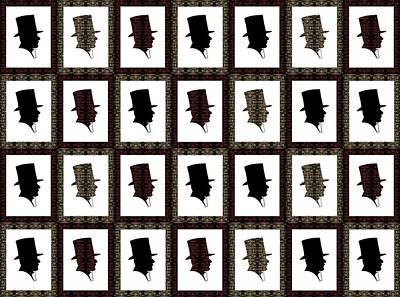 Block Quilts Painting - Victorian Top Hat In Quilt Block Pattern by Barbara St Jean