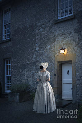 Regency Era Wall Art - Photograph - Victorian Woman Arriving At A Cottage At Night by Lee Avison