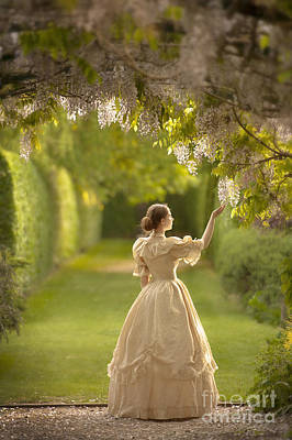 Wisteria In Bloom Photograph - Victorian Woman Beneath A Wisteria Arbour by Lee Avison