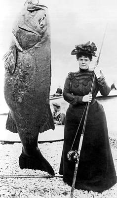Sea Bass Photograph - Victorian Woman With Her Bass by Underwood Archives