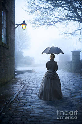 Photograph - Victorian Woman With Parasol Alone At Night by Lee Avison