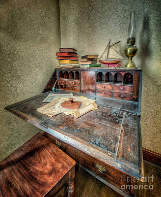 Victorian Writing Bureau Art Print by Adrian Evans