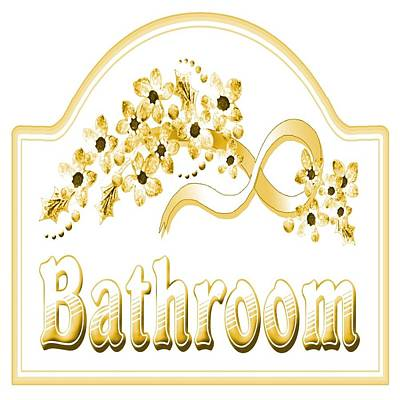 Digital Art - Victorian Yellow Bath Sign by Florene Welebny