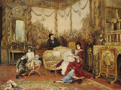 Victorien Sardou And His Family In Their Drawing Room Print by Auguste de la Brely