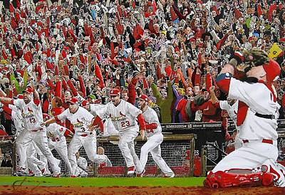 Modern Poster Painting - Victory - St Louis Cardinals Win The World Series Title - Friday Oct 28th 2011 by Dan Haraga