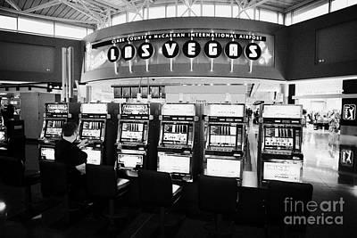 video poker gaming gambling machines in mccarran international airport Las Vegas Nevada USA Art Print