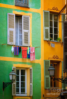 Clothesline Photograph - Vieille Ville Windows by Inge Johnsson