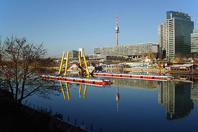Photograph - Vienna Donauturm And Copa Cagrana With Pontoon Bridge by Menega Sabidussi