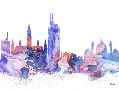 Maps Painting - Vienna by Watercolor Girl