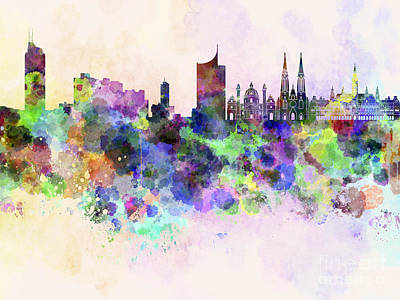 Colorful Art Digital Art - Vienna Skyline In Watercolor Background by Pablo Romero