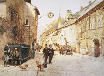 Viennese Painting - Vienna Street Scene, C1900 by Granger