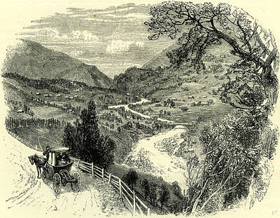 Vale Drawing - Viesch And The Upper Rhone Valley Switzerland by Swiss School