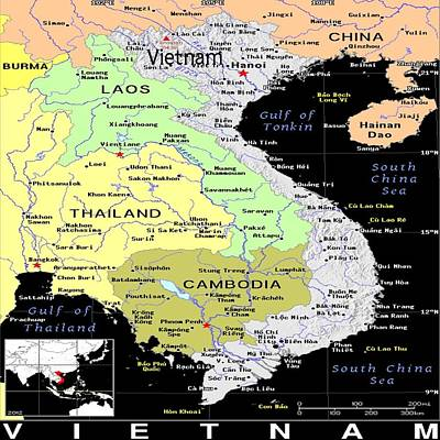 Mixed Media - Vietnam Exotic Map by Florene Welebny