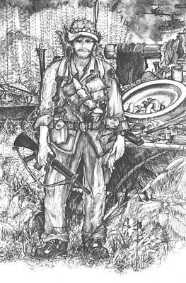 Drawing - Vietnam Soldier by Scott and Dixie Wiley