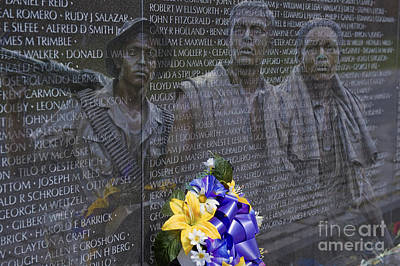 Photograph - Vietnam Veteran Wall And Three Soldiers Memorial Collage Washington Dc_2 by David Zanzinger