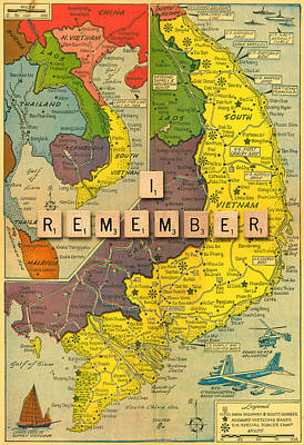 Vietnam War Map Art Print