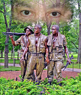 Vietnamese Photograph - Vietnam War Memorial Three Servicemen Statue In Washington D.c. Altered Version II by Jim Fitzpatrick