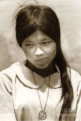 Photograph - Vietnamese Girl With Buddhist Cross  Necklace  1968 by California Views Archives Mr Pat Hathaway Archives