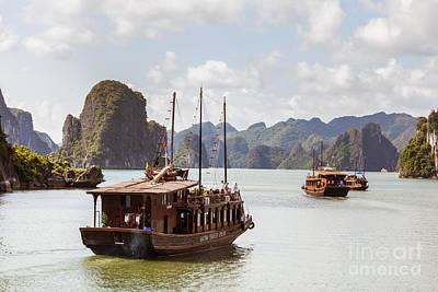 Junk Boat Photograph - Vietnamese Junk On Halong Bay by Fototrav Print