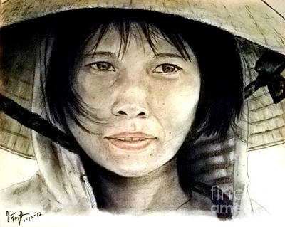 Attractive Pastel - Vietnamese Woman Wearing A Conical Hat by Jim Fitzpatrick