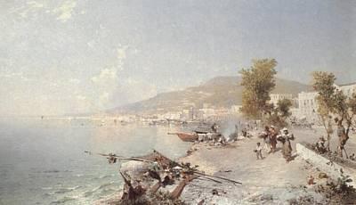 Tuscan Digital Art - Vietri Sul Mare Looking Towards Salerno by Franz Richard Unterberger
