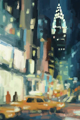 Street Painting - View Across 42nd Street New York City by Beverly Brown Prints