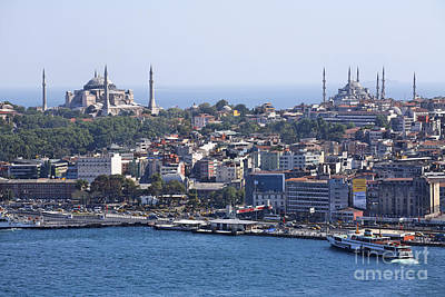 Aya Photograph - View Across The Bosphorus To The Hagia Sophia And The Blue Mosque by Robert Preston