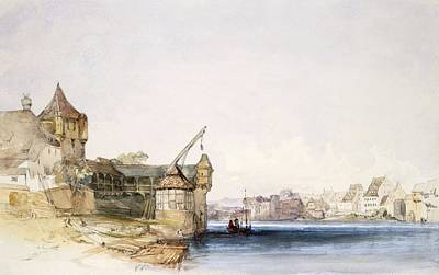 Swiss Drawing - View At Basle, 1842 by John Harper