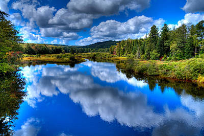 Autumn Photograph - View At The Green Bridge - Old Forge New York by David Patterson