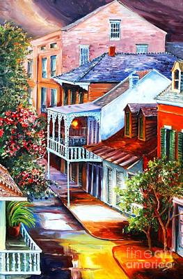 New Orleans Oil Painting - View From A Bourbon Street Balcony by Diane Millsap