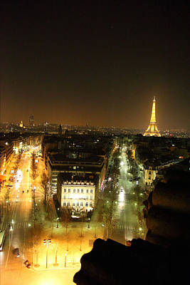 Illuminated Photograph - View From Arc De Triomphe - Paris France - 011312 by DC Photographer