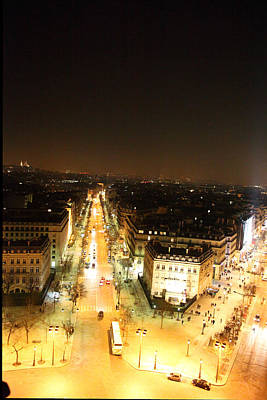 Illuminated Photograph - View From Arc De Triomphe - Paris France - 01133 by DC Photographer