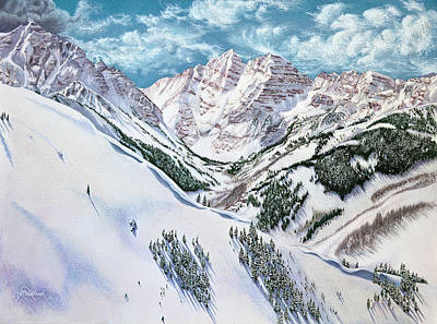 Drawing - View From Aspen Highlands by Jill Westbrook