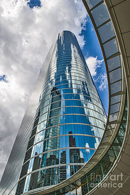 City Scene Photograph - View From Below Of A Houston Skyscraper  by Tod and Cynthia Grubbs