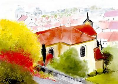 Prague Castle Digital Art - View From Castle Hill Prague by Elaine Weiss