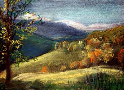 Autumn Landscape Drawing - View From Ginestrelle by Julie Galante