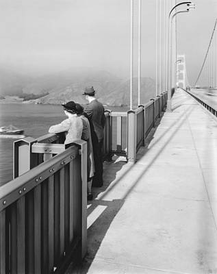 Contemplative Photograph - View From Golden Gate Bridge by Underwood Archives