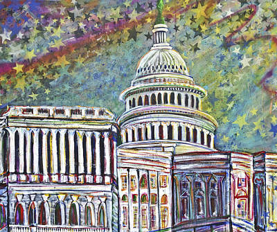 Capitol Building Painting - View From H Street by Mary Gallagher-Stout