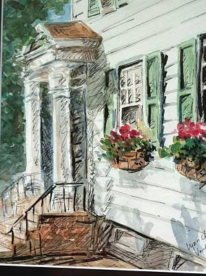 Flower In Pen And Ink Painting - View From Main Street by Lynn Cheng-Varga