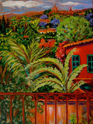 Jacaranda Tree Painting - View From Mexican Rooftop by Carol Keiser