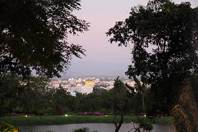 Asia Photograph - View From Palaad Tawanron Restaurant - Chiang Mai Thailand - 01131 by DC Photographer