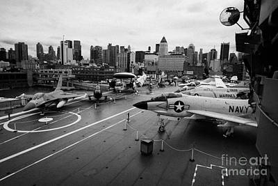 view from the bridge of the USS Intrepid at the Intrepid Sea Air Space Museum new york city usa Art Print by Joe Fox