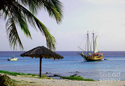 Blue Pirate Ships Landscape Photograph - View From The Coast by Chanel Fernandez