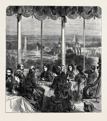View From The Crystal Palace Grand Saloon Summer Dining Room Art Print by English School