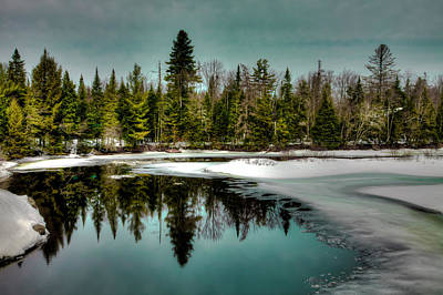 Snow Scenes Photograph - View From The Green Bridge - Old Forge New York by David Patterson