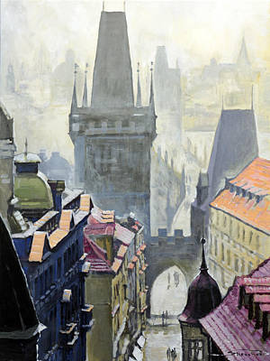 Czech Republic Wall Art - Painting - View From The Mostecka Street In The Direction Of Charles Bridge by Yuriy Shevchuk