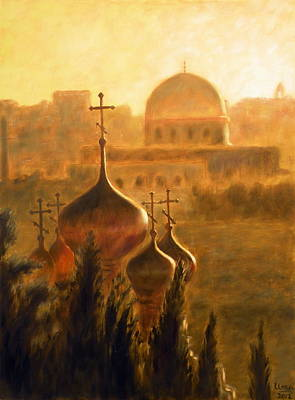 Russian Orthodox Church Painting - View From The Mount Of Olives Jerusalem by Uma Krishnamoorthy