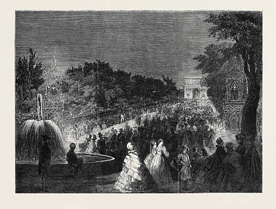 View From The Round Point In The Champs Elysees Art Print by English School